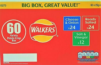 New Walkers Crisps Variety Box 60 Packs - Classic Flavours ,Big Box,Great Value