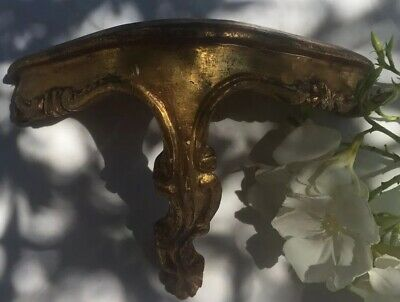Very Pretty Petite Vintage French Wall Table Wood With Gilt Finish