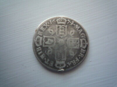 GB 1674 CHARLES II SIXPENCE SILVER Coin.