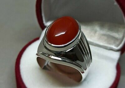 Yemeni Brown Aqeeq Mens Ring Sterling Silver 925 Handmade Agate Ring Aqiq Ring