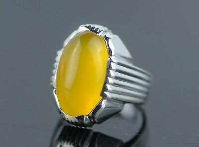 Mens Yellow Agate Zard Yemeni Aqeeq Ring Sterling Silver 925 Handmade Onyx Ring