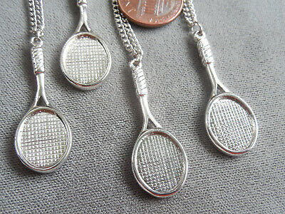 "Vintage NOS lot 4 detailed silver tone tennis racquet 16"" necklaces D15"