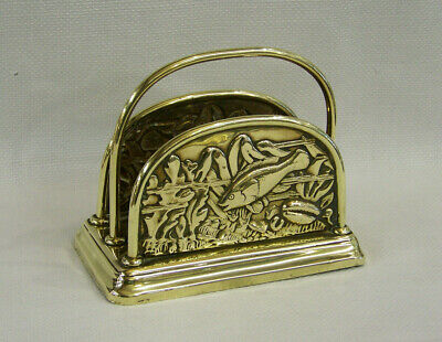 "Antique Arts & Crafts ""Fish"" Design Brass Desktop Letter Rack Desk Tidy C1910-20"