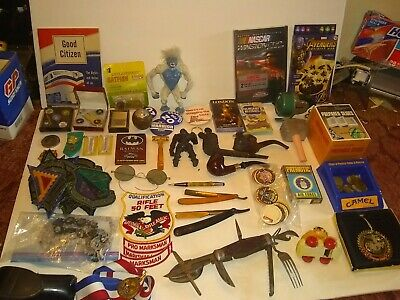 Vintage Junk Drawer Lot Pipes,Knife,Lighter,Tokens,Patches, Fishing,...