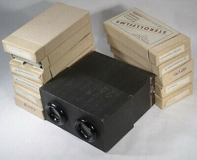 VINTAGE 3d stereo viewer STEREOSCOPE & PACKS / BOXES OF STEREO PHOTOS