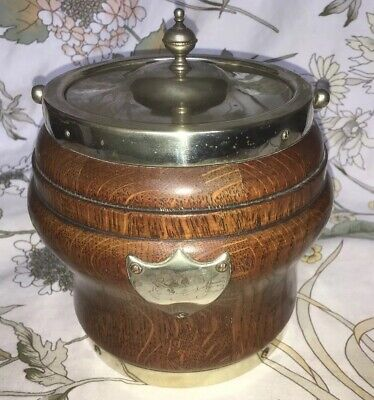 Superb Early 20th Century Oak/Silver-plated Biscuit Barrel, Hammond, Creake & Co