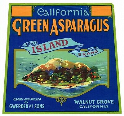 Original Crate Label Vintage Asparagus 1920S Island Walnut Grove Olsen Bros
