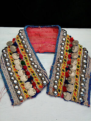 "Short Kuchi Tribal Beaded Remnant Coins Buttons 19.5"" x 3.75"""