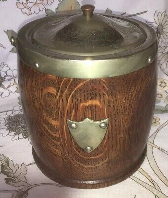 Imposing, Early 20th Century Oak/Silver-plated Biscuit Barrel