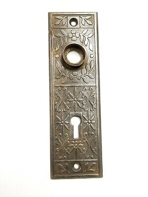 A18  Antique Cast Iron Backplate Doorknob Hardware Ornate Skeleton Key Hole