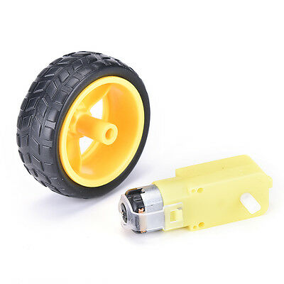 Hot! New!Smart Car Robot Plastic Tire Wheel with DC 3-6v Gear Motor For ardui CL