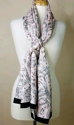 ce3b109af89 NEW AUTH HERMES Silk + Cotton Pink and Black Long Scarf Shawl EX ...