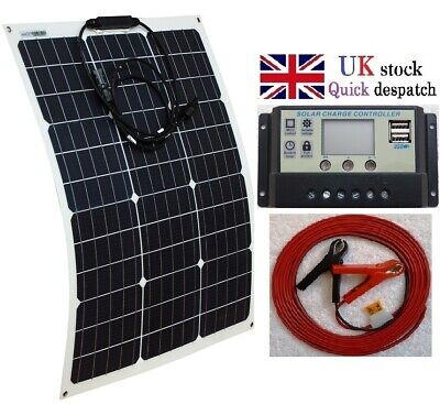 50w Flex ETFE Solar Panel + 10A Charger Controller + 4m cable fuse battery clips