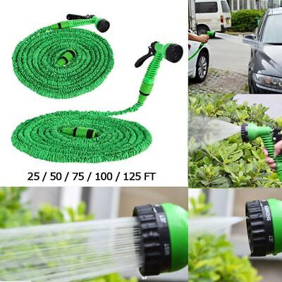 25-200FT Expandable Flexible Water Hose Garden Fabric Pipe Spray Nozzle Car Wash