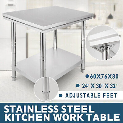 Kitchen Work Bench 60X76X80CM Commercial Stainless Steel  Catering Table Shelf