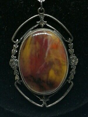 ❤Art Nouveau Necklace Sterling Silver W/marbled Agate Floral Stunning!