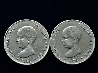 2x 1888 Spain Alfonso XIII 5 Pesetas Large Silver Coins 900 Silver 50 Grams
