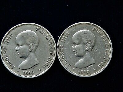 2x 1890 Spain Alfonso XIII 5 Pesetas Large Silver Coins 900 Silver 50 Grams