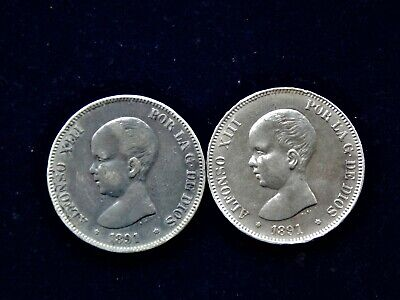 2x 1891 Spain Alfonso XIII 5 Pesetas Large Silver Coins 900 Silver 50 Grams