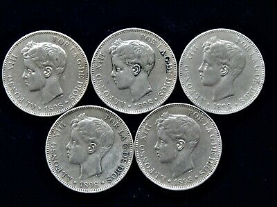 5x 1898 Spain Alfonso XIII 5 Pesetas Large Silver Coins 900 Silver 125 Grams