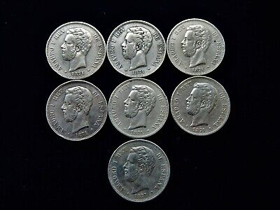 7x 1871 Spain Amadeo I 5 Pesetas Large Silver Coins 900 Silver 175 Grams