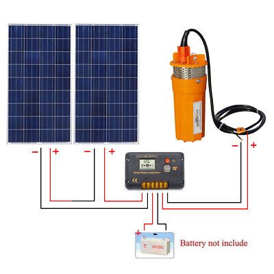 2''100W Solar Panel Powered Submersible Water Deep Well Pump &15A Controller Kit
