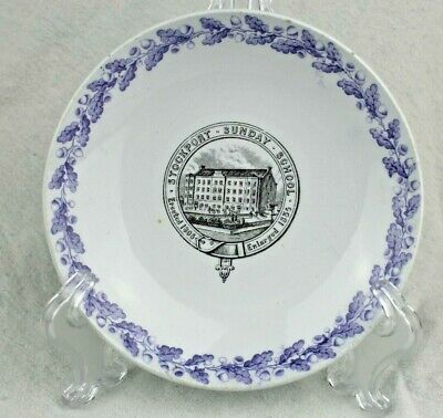 """Rare c.6"""" Victorian Plate for Stockport Sunday School Founded 1805 Enlarged '35"""