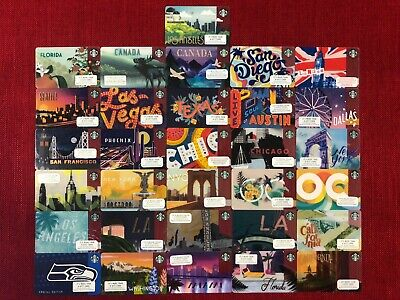 31 New Starbucks Various City Gift Cards Lot Very Limited 2019 La Florida Canada