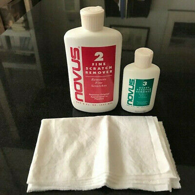 Novus 2 Fine Scratch Remover 8oz. and 3 Heavy Scratch Remover 2oz. set with wipe