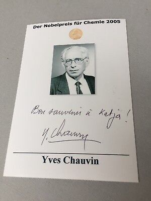 YVES CHAUVIN  †2015 Nobel Prize Chemistry 2015  signed  photograph 4 x 5.6
