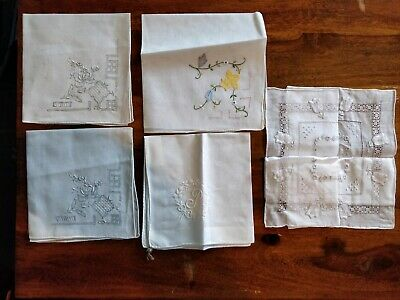 Delicate Selection Of Embroidered Hankies Vintage Whitework Ladder work