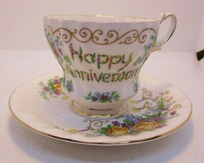 Queen Anne Fine Bone China Happy Anniversary Tea Cup and Saucer