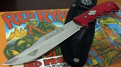 Red Ryder B.b. Gun Hunting Bowie Knife W/ Sheath Case Fixed Blade !!!