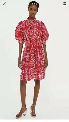 2650a6e0 Zara Sold Out Red Embroidered Puff Sleeve Midi Dress Size Small Blogger
