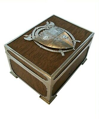 George III Silver & Oak Box with Armorial Crest - United Kingdom - Circa 1782