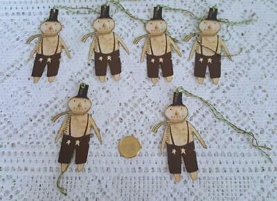Primitive~Christmas~Snowman~Winter~Folk Art~Linen Cardstock~Gift~Hang~Tags