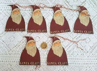 Primitive~Christmas~Santa Claus~Folk Art~Linen Cardstock~Gift~Hang~Tags