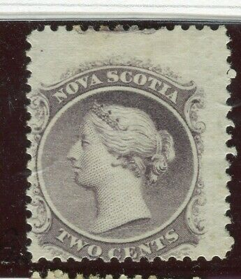 CANADA; NOVA SCOTIA 1860 early classic QV issue Mint hinged 2c. value PERF SHIFT
