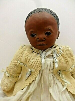 African American Baby, Sculpted Head, Cloth, OOAK Artist Doll, Antique Outfit