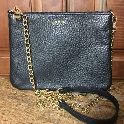 4e18c801ee NEW LODIS Emily Italian Pebbled Leather Crossbody 5 in 1 Convertible Bag  Black