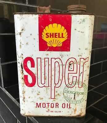 Shell Super Motor Oil 1 Gallon Vintage Tin
