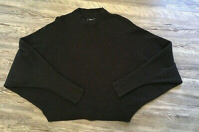 4023880e Zara Knit Womens Cropped Ribbed Pullover Sweater Dolman Batwing Sleeve Sz L