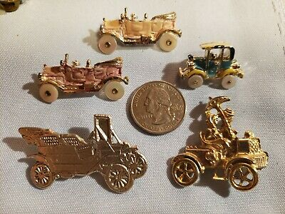 Lot of 5 Vintage Fashion Antique Car Pins Brooches Nice Jewelry or use for Craft