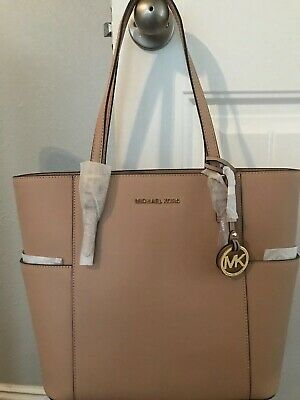 Nwt Michael Kors Jet Set Travel Large Leather Tote Oyster