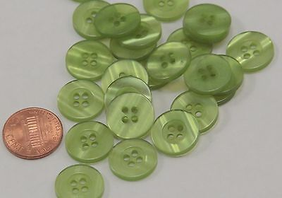 """Lot of 24 Green Pearlized Plastic Buttons 5/8"""" 15.5mm # 6773"""