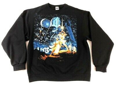Star Wars Graphic Sweat Shirt Long Sleeve Luck Skywalker Darth Vader Mens Large