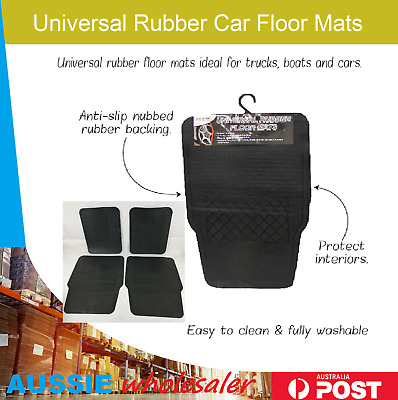 4pcs Universal Rubber Car Floor Mats Rugged Carpet Fit Heavy Duty All Weather