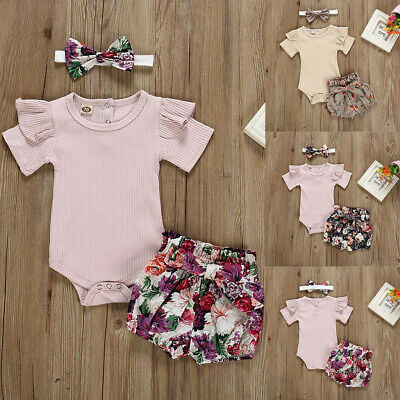 Newborn Baby Girls Stripe Outfits Romper Bodysuit+Flower Print Shorts Cloth Set