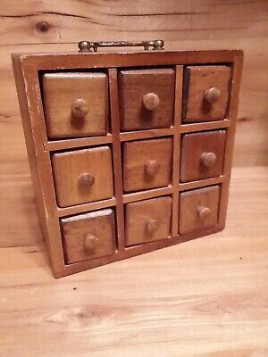 Antique American Spice Box Cabinet Wooden Primitive Chest 9 Drawers Apothecary