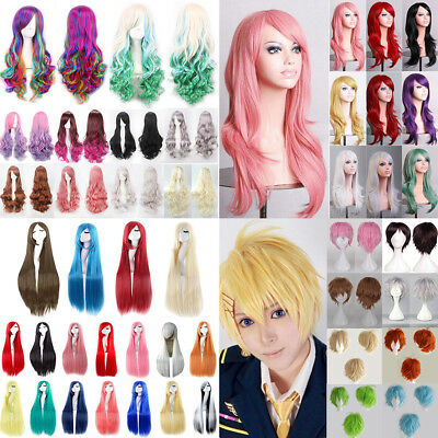 Women Long Hair Full Wig Curly Wavy Straight Hair Wigs Party Costume Cosplay COS